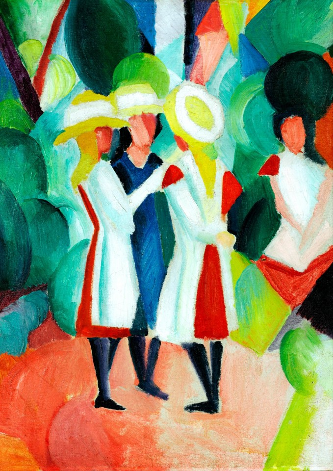 Постер August Macke - Three girls - Август Макке - Три девушки