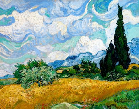 Vincent van Gogh-Wheat Field with Cypres