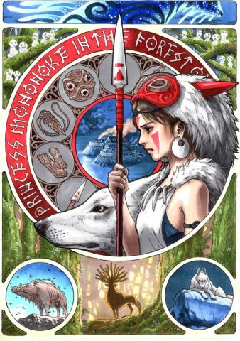 Art nouveau - princess Mononoke