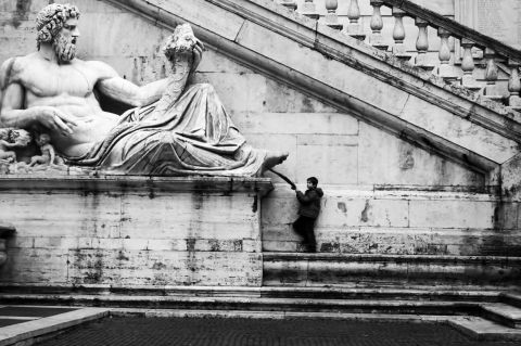 Statue near the river Tiber (Rome)