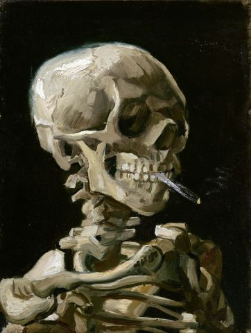 Head of a skeleton with a burning cigare